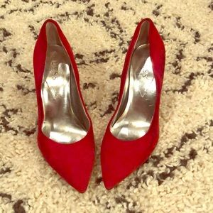 Guess red suede heels